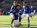 Ben Chilwell of Leicester City celebrates his goal against Chelsea with James Maddioson and Ayoze Perez during the Premier League match at the King Power Stadium, Leicester. Picture date: 1st February 2020. Picture credit should read: Darren Staples/Sportimage