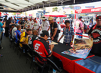 Jul 29, 2016; Sonoma, CA, USA; NHRA fans wait to get autographs during qualifying for the Sonoma Nationals at Sonoma Raceway. Mandatory Credit: Mark J. Rebilas-USA TODAY Sports