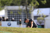 Haydn Porteous (RSA) plays his 2nd shot from a fairway bunker on the 17th hole during Thursday's Round 1 of the 2017 Omega European Masters held at Golf Club Crans-Sur-Sierre, Crans Montana, Switzerland. 7th September 2017.<br /> Picture: Eoin Clarke | Golffile<br /> <br /> <br /> All photos usage must carry mandatory copyright credit (&copy; Golffile | Eoin Clarke)