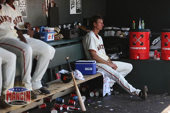 SAN FRANCISCO - MAY 16:  Randy Johnson of the San Francisco Giants sits in the dugout during the game against the New York Mets at AT&T Park in San Francisco, California on Saturday, May 16, 2009. Photo by Brad Mangin