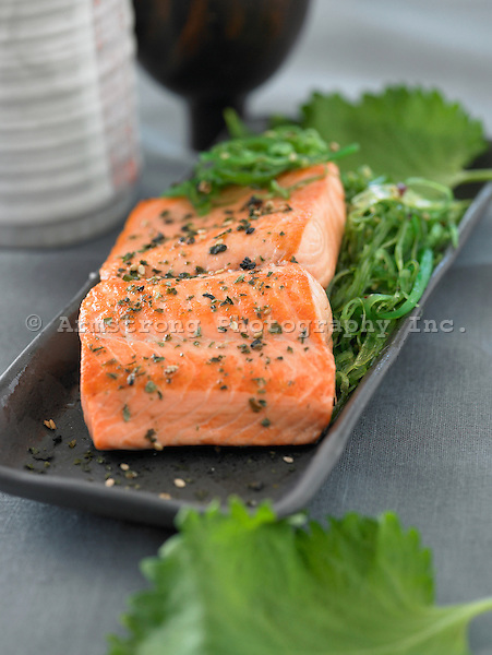 Fillet of salmon with Japanese 'Chuka' seaweed salad and shiso leaves