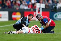 Japan Winger Akihito Yamada is treated after an injury - Mandatory byline: Rogan Thomson - 03/10/2015 - RUGBY UNION - Stadium:mk - Milton Keynes, England - Samoa v Japan - Rugby World Cup 2015 Pool B.