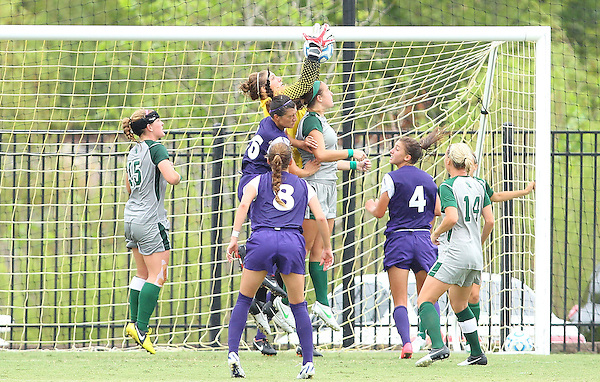 Denton, TX - SEPTEMBER 16: Jackie Kerestine #0 of the North Texas Mean Green soccer in action against the Texas Christian University Horned Frogs at the Mean Green Village Soccer Field University in Denton on September 16, 2012 in Denton, Texas. (Photo by Rick Yeatts)