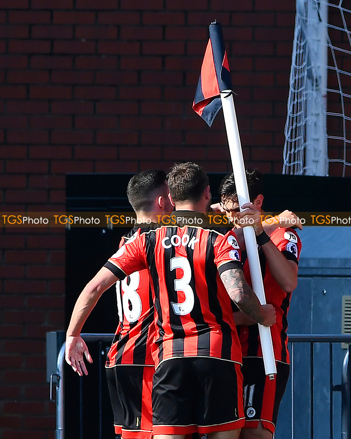 Charlie Daniels of AFC Bournemouth celebrates with the corner flag after scoring the fourth goal during AFC Bournemouth vs Middlesbrough, Premier League Football at the Vitality Stadium on 22nd April 2017