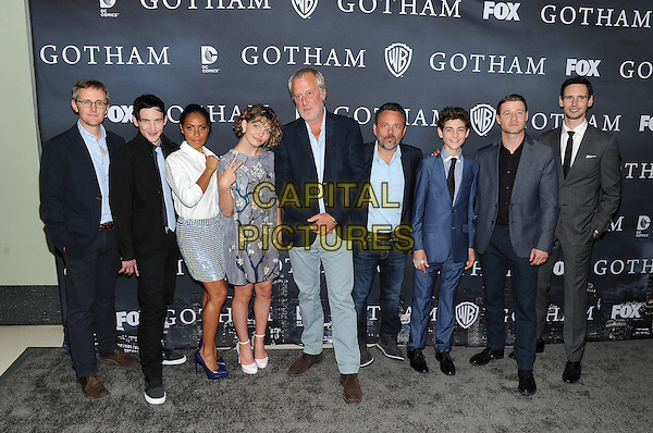 LOS ANGELES - APRIL 28: (L-R) Executive Producer John Stephens, actors Robin Lord Taylor, Jada Pinkett Smith and Camren Bicondova, executive producers Bruno Heller and Danny Cannon, and actors David Mazouz, Ben McKenzie and Cory Michael Smith attend FOX's 'Gotham' finale screening event at The Landmark Theatre on April 28, 2015 in Los Angeles, California. <br /> CAP/MPI/PGFM<br /> &copy;PGFM/MPI/Capital Pictures