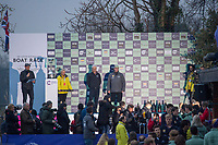 Greater London. United Kingdom, The official presentation part assembled on stage for men's  University Boat Race , presentation. Cambridge University vs Oxford University Putney to Mortlake,  Championship Course, River Thames, London. <br /> <br /> Saturday  24.03.18<br /> <br /> [Mandatory Credit:Peter SPURRIER/Intersport Images]