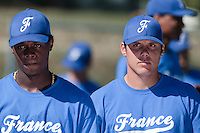 20 july 2010: Boris Marche of Team France, next to Jean Samer, listens to John Haar during a practice prior to the 2010 European Championship Seniors, in Neuenburg, Germany.