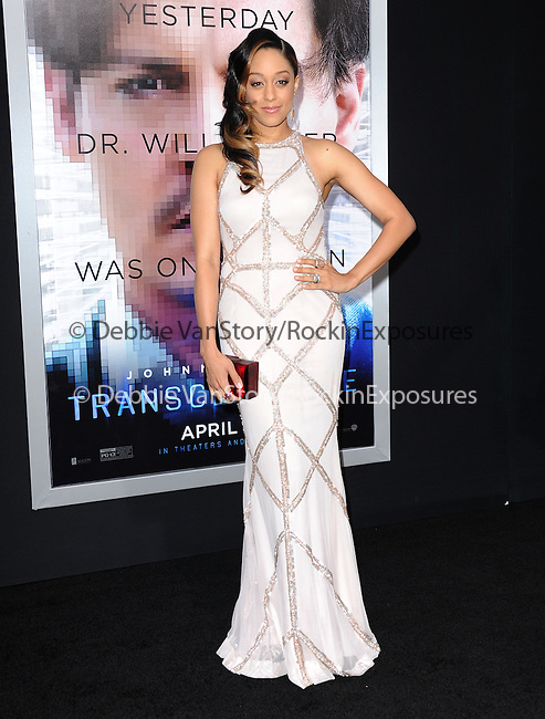 "Tia Mowry attends The L.A. Premiere of Alcon Entertainment's ""TRANSCENDENCE"" held at The Regency Village Theater in Westwood, California on April 10,2014                                                                               © 2014Hollywood Press Agency"