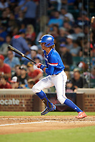 Raynel Delgado (3) of Calvary Christian Academy in Miami Lakes, Florida at bat during the Under Armour All-American Game presented by Baseball Factory on July 29, 2017 at Wrigley Field in Chicago, Illinois.  (Mike Janes/Four Seam Images)