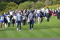 Dustin Johnson and Jordan Spieth (USA) walk to the 5th green at Pebble Beach Golf Links during Saturday's Round 3 of the 2017 AT&amp;T Pebble Beach Pro-Am held over 3 courses, Pebble Beach, Spyglass Hill and Monterey Penninsula Country Club, Monterey, California, USA. 11th February 2017.<br /> Picture: Eoin Clarke | Golffile<br /> <br /> <br /> All photos usage must carry mandatory copyright credit (&copy; Golffile | Eoin Clarke)