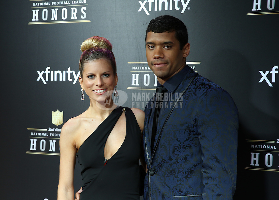 Feb. 2, 2013; New Orleans, LA, USA: Seattle Sehawks quarterback Russell Wilson (right) with wife Ashton Wilson on the red carpet prior to the Super Bowl XLVII NFL Honors award show at Mahalia Jackson Theater. Mandatory Credit: Mark J. Rebilas-USA TODAY Sports