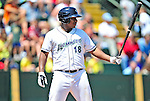 15 July 2010: Vermont Lake Monsters' outfielder Kevin Keyes in action against the Aberdeen IronBirds at Centennial Field in Burlington, Vermont. The Lake Monsters rallied in the bottom of the 9th inning to defeat the IronBirds 7-6 notching their league leading 20th win of the 2010 NY Penn League season. Mandatory Credit: Ed Wolfstein Photo