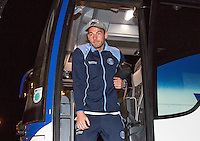 Max Muller of Wycombe Wanderers arrives ahead of the Sky Bet League 2 match between Colchester United and Wycombe Wanderers at the Weston Homes Community Stadium, Colchester, England on 21 February 2017. Photo by Andy Rowland / PRiME Media Images.