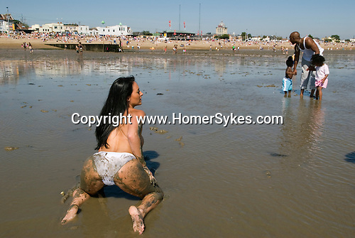 Glamour model being photographed.  Southend on Sea, Essex. England