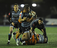 Cardiff Blues&rsquo; Nick Williams is tackled by Toyota Cheetahs&rsquo; Charles Marais<br /> <br /> Photographer Kevin Barnes/CameraSport<br /> <br /> Guinness Pro14  Round 14 - Cardiff Blues v Toyota Cheetahs - Saturday 10th February 2018 - Cardiff Arms Park - Cardiff<br /> <br /> World Copyright &copy; 2018 CameraSport. All rights reserved. 43 Linden Ave. Countesthorpe. Leicester. England. LE8 5PG - Tel: +44 (0) 116 277 4147 - admin@camerasport.com - www.camerasport.com