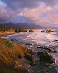 Ecola State Park, OR:  Crescent Beach and rolling surf in evening light - Tillmook Head