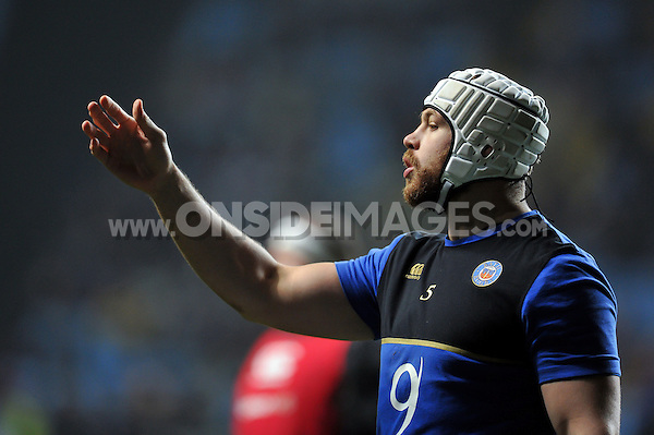 Dave Attwood of Bath Rugby looks on during the pre-match warm-up. European Rugby Champions Cup match, between Wasps and Bath Rugby on December 13, 2015 at the Ricoh Arena in Coventry, England. Photo by: Patrick Khachfe / Onside Images