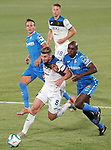 Getafe CF's Nemanja Maksimovic (c-l) and Allan Nyom (r) and Atalanta BC's Mario Pasalic (t) and Robin Gosens during friendly match. August 10,2019. (ALTERPHOTOS/Acero)