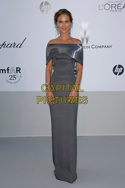 SVETLANA METKINA arriving at the amFAR Cinema Against Aids Gala during the 64th Cannes Film Festival, Hotel Du Cap, Eden Roc, Antibes, France, May 19th 2011..full length grey gray off the shoulders long maxi dress .CAP/PL.©Phil Loftus/Capital Pictures.