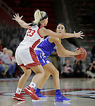 VERMILLION, SD: JANUARY 13:  Peyton Fallis #23 of Ft. Wayne looks past South Dakota defender Madison McKeever #23 during their Summit League game Saturday January 13 at the Sanford Coyote Sports Center in Vermillion, S.D.   (Photo by Dick Carlson/Inertia)