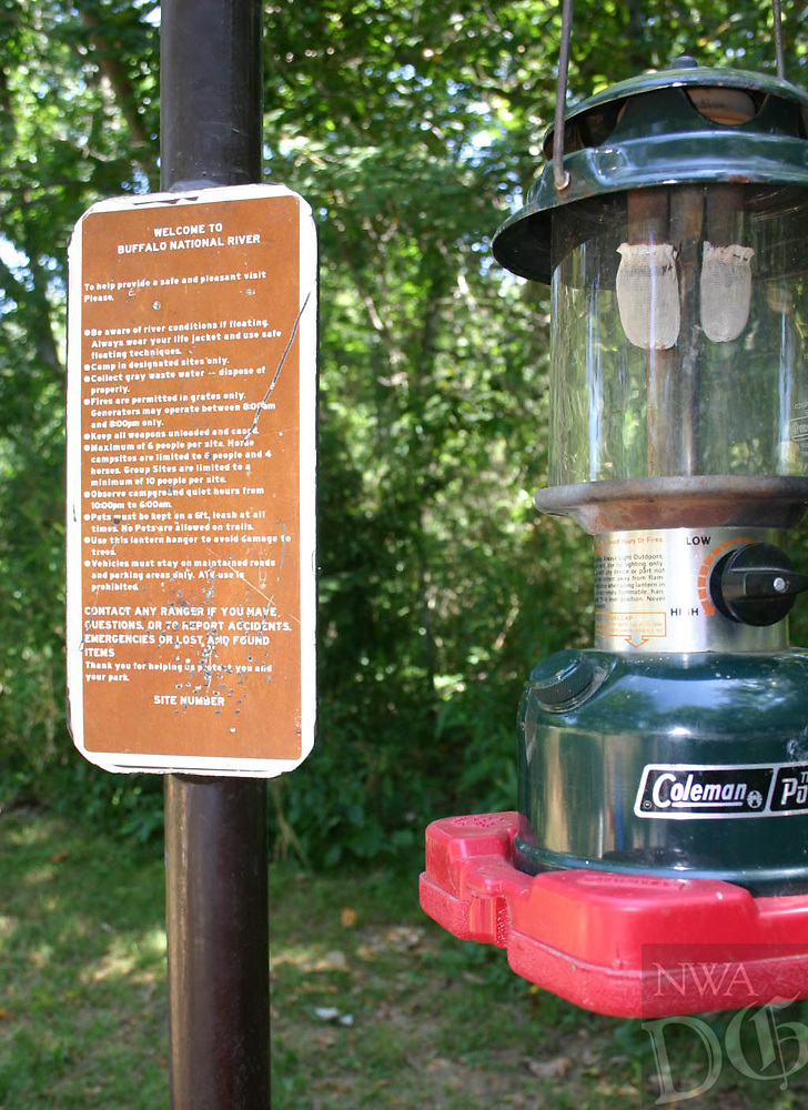 Arkansas Democrat-Gazette/BRYAN HENDRICKS<br /> A Coleman lantern is essential for illuminating a campsite on a moonless night in Arkansas.