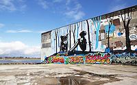 Nederland Nijmegen 2016 02 25. Muurschildering op de muur van het Honigcomplex. Culturele hotspot aan de Waal in de voormalige fabriek van Honig.  Foto Berlinda van Dam / Hollandse Hoogte