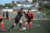 Action from the Women's Capital Premier One football match between Island Bay United Sharkettes (black) and Brooklyn Northern United at Wakefield Park in Wellington, New Zealand on Sunday, 23 April 2017. Photo: Dave Lintott / lintottphoto.co.nz