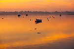 Boats at moorings River Deben in golden light of winter sunset, Ramsholt, Suffolk, England