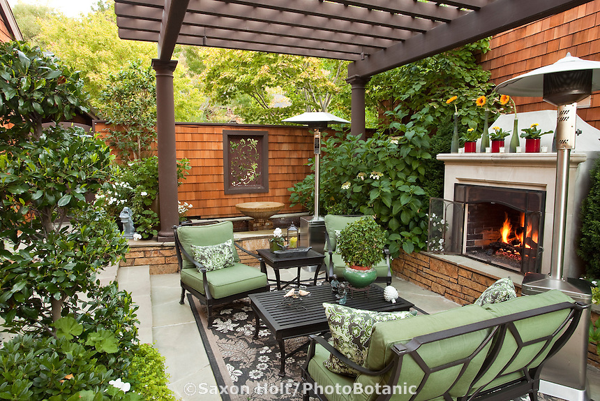 Superb California Outdoor Garden Room With Shade Pergola And Fireplace In Small  Space Urban Townhome Patio Garden