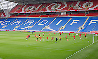 General view of Wales training ahead of the World Cup 2018 qualification match against Moldova at Cardiff City Stadium, Cardiff, Wales on 4 September 2016. Photo by Mark  Hawkins / PRiME Media Images.