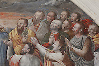 Detail of the Ascension fresco with the remaining 11 disciples, Judas having killed himself, Chapter House, Fontevraud Abbey, Fontevraud-l'Abbaye, Loire Valley, Maine-et-Loire, France. The Chapter House was built in the 16th century and its walls were painted in 1563 with frescoes of scenes from Christ's Passion by the Anjou artist Thomas Pot. The abbey itself was founded in 1100 by Robert of Arbrissel, who created the Order of Fontevraud. It was a double monastery for monks and nuns, run by an abbess. Picture by Manuel Cohen