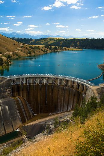 Kerr Dam and Flathead River near Polsonl, Montana