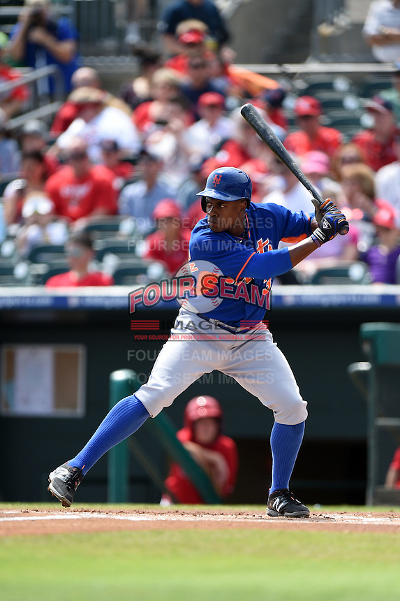 New York Mets outfielder Curtis Granderson (3) during a Spring Training game against the St. Louis Cardinals on April 2, 2015 at Roger Dean Stadium in Jupiter, Florida.  The game ended in a 0-0 tie.  (Mike Janes/Four Seam Images)