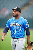 Akron RubberDucks first baseman Nellie Rodriguez (25) during warmups before the first game of a doubleheader against the Bowie Baysox on June 5, 2016 at Prince George's Stadium in Bowie, Maryland.  Bowie defeated Akron 6-0.  (Mike Janes/Four Seam Images)