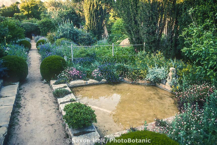 Shallow pond by path Lockwood DeForrest Garden, Santa Barbara, California