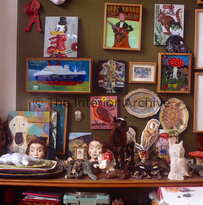 Some examples of artist Natalie Lete's work. Children's dolls, paintings and prints.