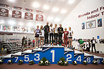 COLLEGE STATION, TX - MARCH 11: Finalists take the podium following the women's 3000 meter run during the Division I Men's and Women's Indoor Track & Field Championship held at the Gilliam Indoor Track Stadium on the Texas A&M University campus on March 11, 2017 in College Station, Texas. (Photo by Michael Starghill/NCAA Photos/NCAA Photos via Getty Images)
