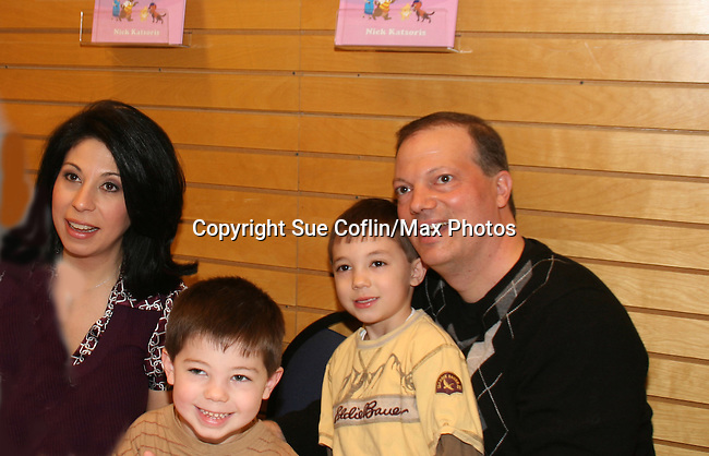 "Alexis Christoforous w/hubby and sons at the booksigning of Loukoumi's ""Good Deeds"" on April 4, 2009 at Lincoln Square, Barnes & Noble, New York City, NY.  $2 of each book sale will be donated to St. Jude Children's Research Hospital which is in itself, a good deed. (Photo by Sue Coflin/Max Photos)"
