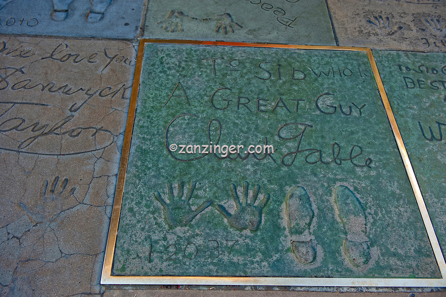 Grauman's, Chinese, Theatre, Clark Gable, Movie Star, Hand - Footprint, Impressions, Hollywood,  CA