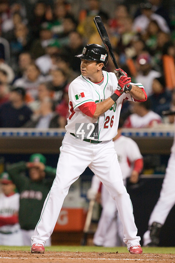 16 March 2009: #26 Oscar Robles of Mexico is seen at bat during the 2009 World Baseball Classic Pool 1 game 3 at Petco Park in San Diego, California, USA. Cuba wins 7-4 over Mexico.