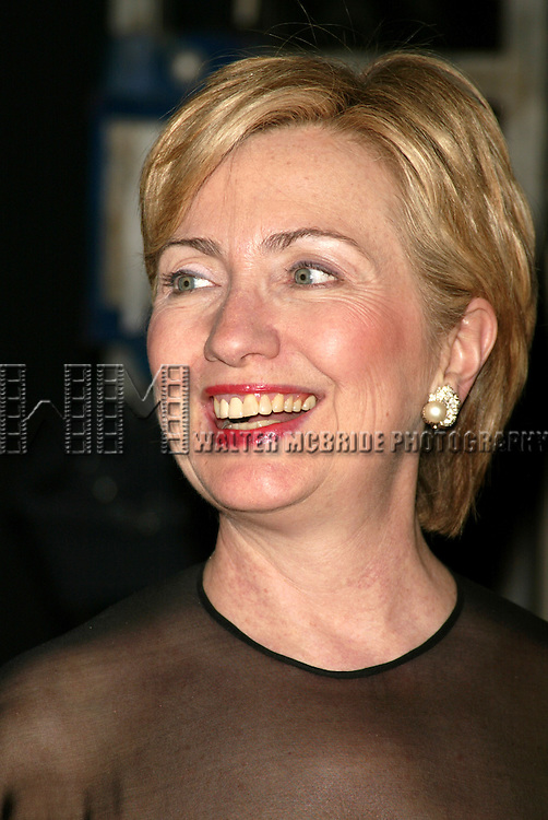 Senator Hillary Rodham Clinton ( Wearing a Scaasi Design ) attending  the Literacy Partners 20th  Annual Gala, AN EVENING OF READINGS at Lincoln Center, Honoring Tom Brokaw, Tim Russert and Jack Welch..May 3, 2004