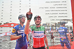 Italian National Champion Elia Viviani (ITA) Deceuninck-Quick Step signs on before the start of Stage 6 of the 2019 UAE Tour, running 175km form Ajman to Jebel Jais, Dubai, United Arab Emirates. 1st March 2019.<br /> Picture: LaPresse/Massimo Paolone | Cyclefile<br /> <br /> <br /> All photos usage must carry mandatory copyright credit (© Cyclefile | LaPresse/Massimo Paolone)
