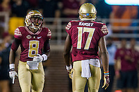 TALLAHASSEE, FLA. 9/5/15-Florida State University's Jalen Ramsey, right, and Kermit Whitfield, prepare to receive a kick off during first half action against Texas State University at Doak Campbell Stadium in Tallahassee. Ramsey received permission from the last player to wear the number, famed FSU quarterback Charlie Ward, for kickoff return duty since he and Whitfield both wear jersey number 8 when playing their respective positions on offense and defense. <br /> <br /> COLIN HACKLEY PHOTO