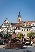Germany, Baden-Wuerttemberg, Region Heilbronn-Franconia, Tauberbischofsheim: market Square and tower of church St. Martin | Deutschland, Baden-Wuerttemberg, Region Heilbronn-Franken, Tauberbischofsheim: Marktplatz und Turm der Stadtkirche St. Martin