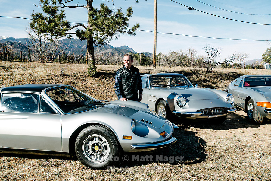 David Donner with his Ferrari cars in Colorado Springs, Colorado, Monday, December 18, 2018. Donner's dad was a well-known Ferrari collector in the 1960s/70s and left David a Dino, a Daytona and a 1967 330 GTC.<br /> <br /> Photo by Matt Nager
