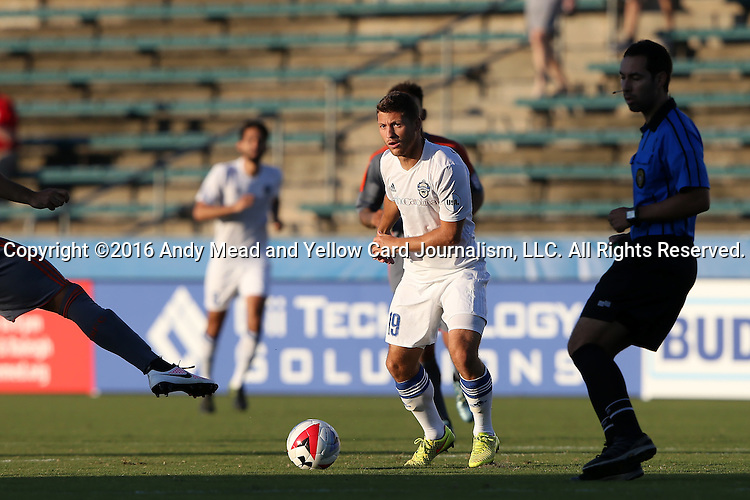 01 June 2016: Charlotte's Enzo Martinez (URU). The Carolina RailHawks hosted the Charlotte Independence at WakeMed Stadium in Cary, North Carolina in a 2016 Lamar Hunt U.S. Open Cup third round game. The RailHawks won 5-0 after extra time after regulation ended in a 0-0 tie.