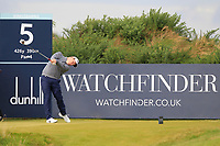 Robert Macintyre (SCO) on the 5th tee during Round 2 of the Alfred Dunhill Links Championship 2019 at Kingbarns Golf CLub, Fife, Scotland. 27/09/2019.<br /> Picture Thos Caffrey / Golffile.ie<br /> <br /> All photo usage must carry mandatory copyright credit (© Golffile | Thos Caffrey)