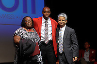 Karen Pope, Hall of Fame inductee Eddie Pope, and US Soccer President Sunil Gulati during the 2011 National Soccer Hall of Fame induction ceremony in Foxborough, MA, on June 04, 2011.