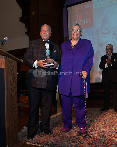 NEW YORK, NY - APRIL 3: Hon. David N. Dinkins, Harry Belafonte, John McEnroe, Randy Levine, Charles B. Rangel, Dr. Phyllis Harrison-Ross pictured as David N. Dinkins, 106th Mayor of the City of New York, receives the Dr. Phyllis Harrison-Ross Public Service Award for a lifetime of public service at the New York Society of Ethical Culture in New York City on April 3, 2014. Credit: Margot Jordan/MediaPunch