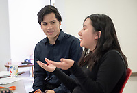 Occidental College students participate in a Friday IMPACT session in Lower Herrick Chapel, June 1, 2018. IMPACT is a weekly, on-campus career and professional development training program for InternLA participants run by Career Services.<br /> InternLA is a paid summer internship program which helps Oxy students gain real-world work experience from actual businesses in Los Angeles.<br /> (Photo by Marc Campos, Occidental College Photographer)